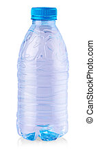 Plastic blue bottle isolated on white background.