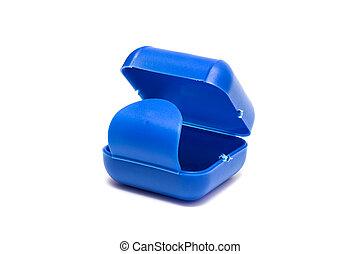 Plastic blue box isolated on white background