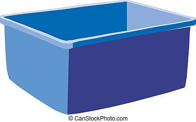 Plastic blue box , isolated on white background, vector illustration