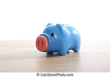 Plastic blue piggy bank