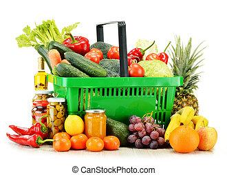 plastic, boodschappenmand, met, kruidenierswaren,...