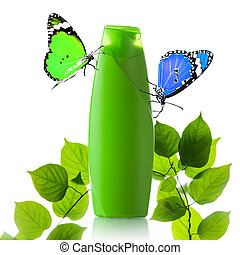 Plastic bottle and butterfly