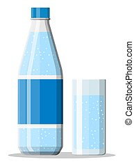 Plastic bottle and glass of fresh mineral water