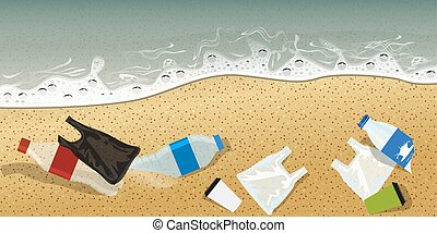 Plastic bottle and other plastics on seashore pollution concept advertisement template composition. Vector Illustration.
