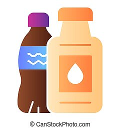 Plastic bottle ban flat icon. Plastic package ban color icons in trendy flat style. Ecological gradient style design, designed for web and app. Eps 10.
