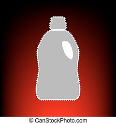 Plastic bottle for cleaning. Postage stamp or old photo style on red-black gradient background.