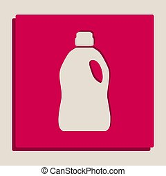 Plastic bottle for cleaning. Vector. Grayscale version of Popart-style icon.