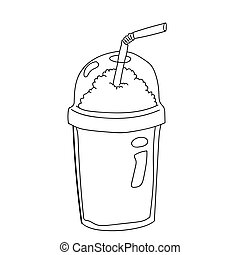 Plastic Bottle for Coffee Cartoon-Vector Illustration