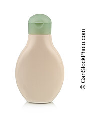 Plastic bottle for lotion, soap, shampoo, sunscreen etc. Isolated on white.