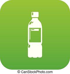 Plastic bottle icon green vector
