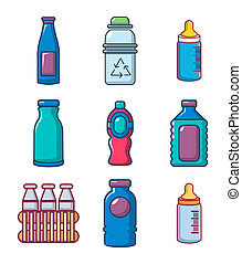 Plastic bottle icon set, cartoon style
