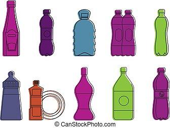 Plastic bottle icon set, color outline style - Plastic...