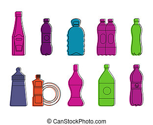 Plastic bottle icon set, color outline style - Plastic...
