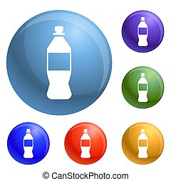 Plastic bottle icons set 6 color isolated on white...