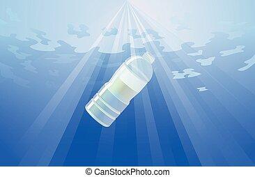 Plastic bottle in the ocean vector
