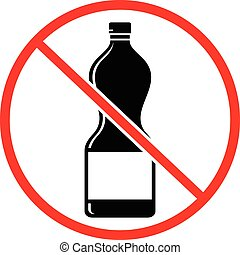 Plastic bottle not allowed sign isolated on white background