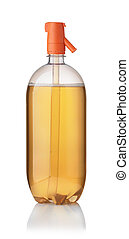 Plastic bottle of apple cider