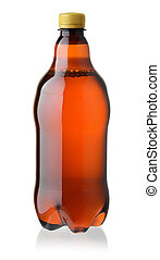 Plastic bottle of beer