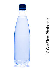 Plastic bottle of water on white background