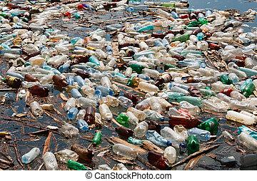 plastic bottle pollution - heavy plastic bottle pollution on...