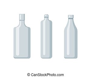 Plastic bottle set design flat oil and beverage. Set containers of different capacities large small tare.