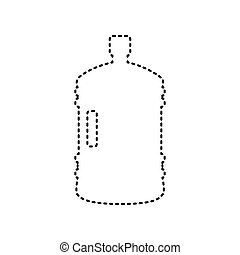 Plastic bottle silhouette sign. Vector. Black dashed icon on white background. Isolated.