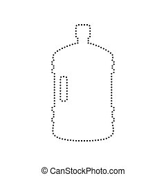Plastic bottle silhouette sign. Vector. Black dotted icon on white background. Isolated.