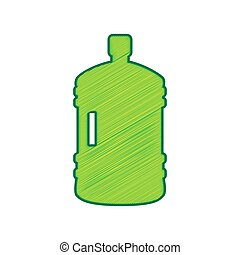 Plastic bottle silhouette sign. Vector. Lemon scribble icon on white background. Isolated