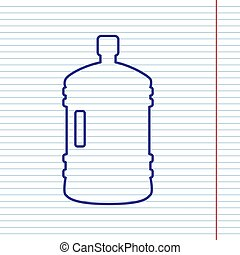 Plastic bottle silhouette sign. Vector. Navy line icon on notebook paper as background with red line for field.