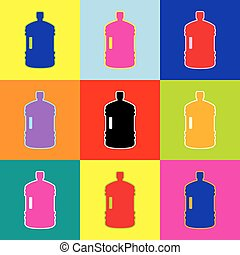 Plastic bottle silhouette sign. Vector. Pop-art style...