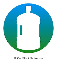 Plastic bottle silhouette sign. Vector. White icon in bluish circle on white background. Isolated.