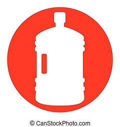Plastic bottle silhouette sign. Vector. White icon in red circle on white background. Isolated.