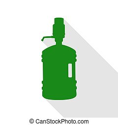 Plastic bottle silhouette with water and siphon. Green icon with flat style shadow path.