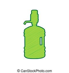 Plastic bottle silhouette with water and siphon. Vector. Lemon scribble icon on white background. Isolated