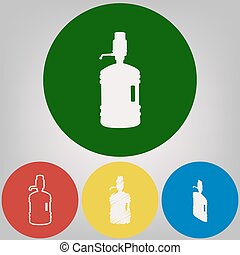 Plastic bottle silhouette with water and siphon. Vector. 4...