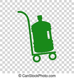 Plastic bottle silhouette with water. Big bottle of water on track. Dark green icon on transparent background.
