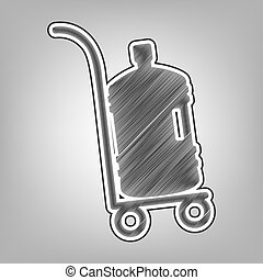 Plastic bottle silhouette with water. Big bottle of water on track. Vector. Pencil sketch imitation. Dark gray scribble icon with dark gray outer contour at gray background.
