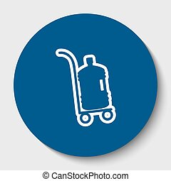 Plastic bottle silhouette with water. Big bottle of water on track. Vector. White contour icon in dark cerulean circle at white background. Isolated.