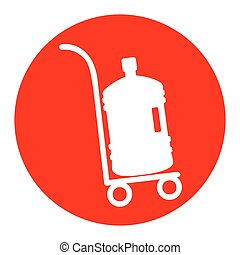Plastic bottle silhouette with water. Big bottle of water on track. Vector. White icon in red circle on white background. Isolated.
