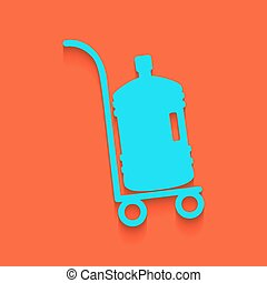 Plastic bottle silhouette with water. Big bottle of water on track. Vector. Whitish icon on brick wall as background.
