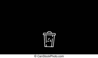 Plastic bottle thrown to the recycle bin. Stylized info-graphic animation. White on black