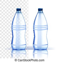 Plastic Bottle Vector. Recycle Beverage. Bluer Classic Water Bottle With Cap. Container For Drink, Beverage, Liquid, Soda, Juice. Branding Design. Realistic Isolated Transparent Illustration