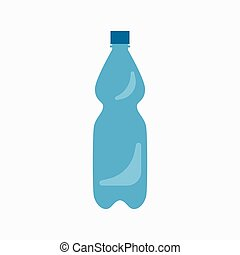 Plastic bottle waste flat concept.