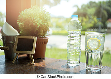 Plastic bottle water and glass with slice lemon and ice cube...