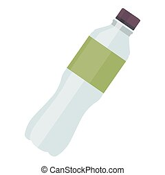 Plastic bottle water icon for fitness in flat style isolated on white background. Vector illustration