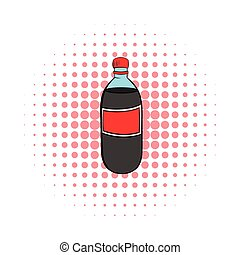 Plastic bottle with a red label icon, comics style