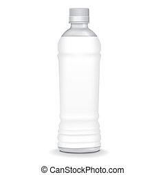 plastic bottle with blank label isolated on white background