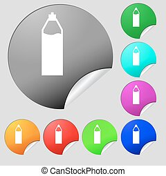 Plastic bottle with drink icon sign. Set of eight multi colored round buttons, stickers. Vector