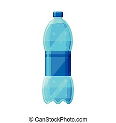 Plastic Bottle with Purified Water Vector Illustration on White Background