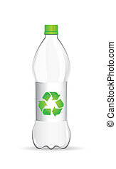 plastic bottle with recycle sign over white background....